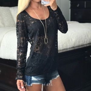 White House Black Market Tops - HOLD-White House Black Market Lace Long Sleeve Top